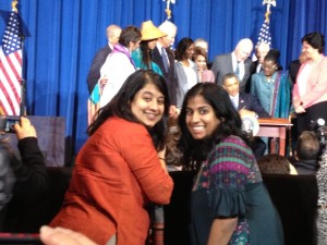 Aparna Bhattacharyya and Tiloma Jayasinghe, the Executive Director of Sakhi for South Asian women in New York at the VAWA signing.