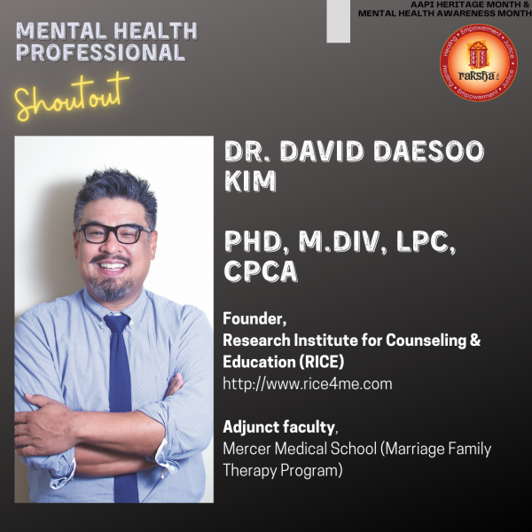 David Daesoo Kim, PhD, M.Div, LPC, CPCA