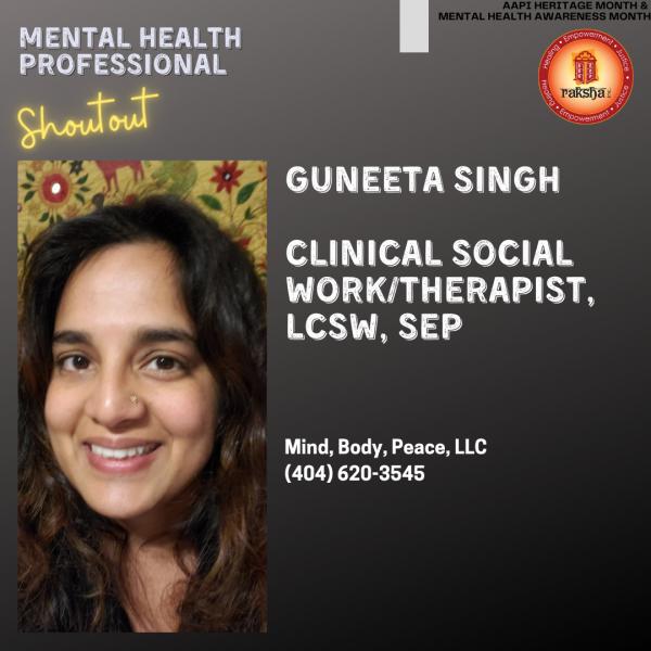 Guneeta Singh, Clinical Social Work/Therapist, LCSW, SEP