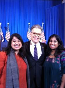 Aparna and Tiloma with Senator Al Franken