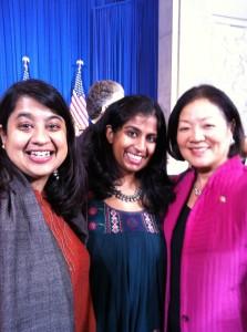 Aparna and Tiloma with Senator Hirono from Hawaii.
