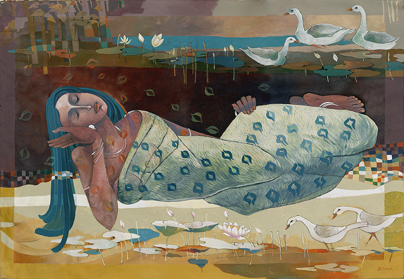 Sharma, woman and geese, scan2, 9/25/14, 4:00 PM, 16C, 7192x7049 (318+2183), 150%, Repro 2.2 v2,  1/15 s, R97.5, G64.8, B74.3