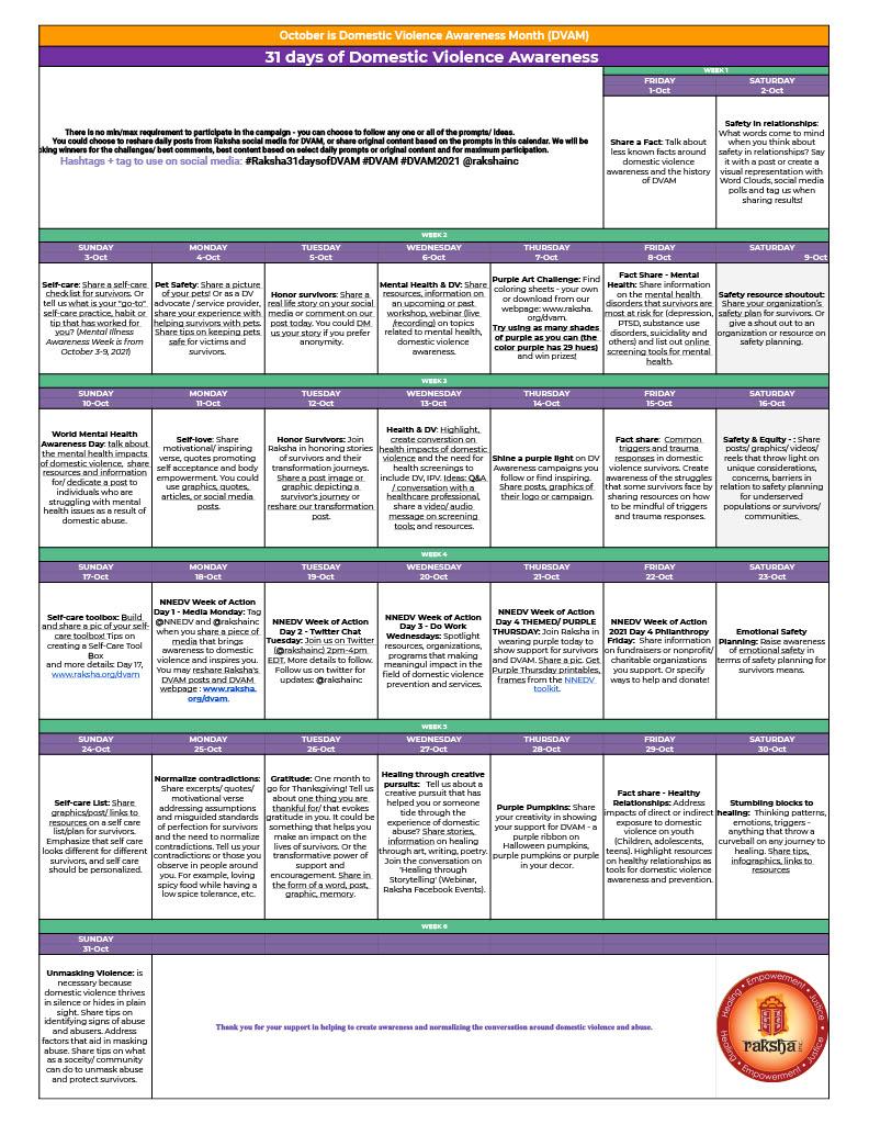 Raksha DVAM Daily Prompts Calendar 10.2021